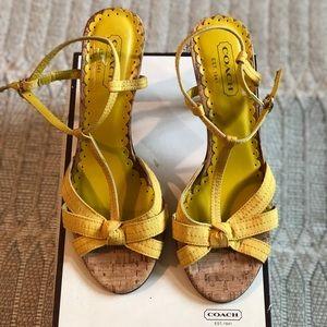 Coach high heel yellow sandals